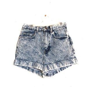 American Apparel High-Rise Mom Acid Wash Shorts